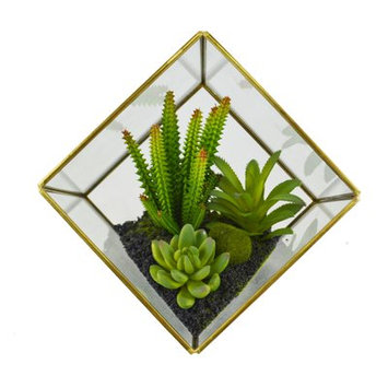 Varick Gallery Artificial Cube Desktop Succulent Plant
