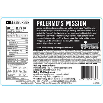 Palermo's® Thin Crust Bacon Cheeseburger Pizza 15.95 oz. Package