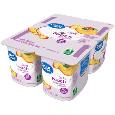 Great Value™ Peach Light Nonfat Yogurt 4-6 oz. Cups
