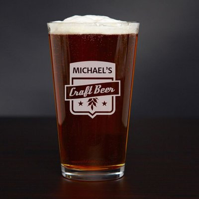 Home Wet Bar Craft Beer Personalized 16 oz. Glass Pint Glass