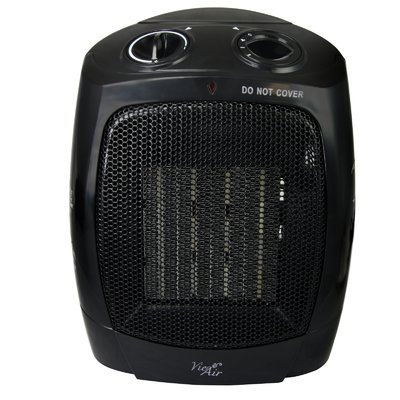 Infolist Corp. Vie Air 970100346M 1500W Portable Dual Setting Office Black Ceramic Heater with Adjustable Thermostat