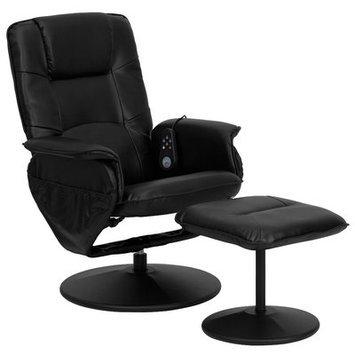 Latitude Run Leather Heated Reclining Massage Chair & Ottoman
