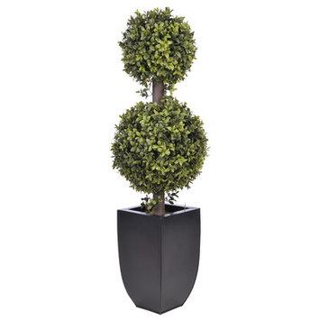 Mercury Row Double Ball Topiary in Planter Base Color: Black Zinc