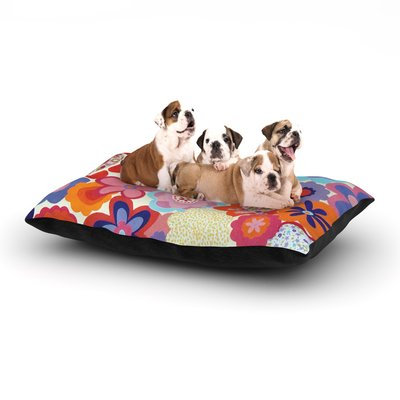 East Urban Home Louise Machado 'Patchwork Flowers' Dog Pillow with Fleece Cozy Top Size: Large (50