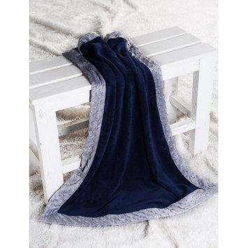 Harriet Bee Bakker Solid with Border Plush Blanket Color: Navy / Grey