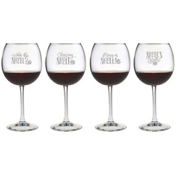 Susquehanna Glass 4 Piece What the Shell Red Wine Glass Set