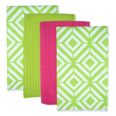 Ivy Bronx Diamond Microfiber 4 Piece Towel Set Color: Green