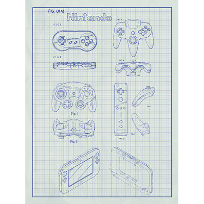 Inked And Screened Gaming 'Nintendo Controllers' Silk Screen Print Graphic Art in White Grid/Blue Ink