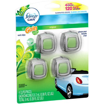 Febreze™ Car™ Original with Gain® Scent Vent Clips Air Freshener 4 ct Carded Pack
