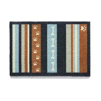 Howler & Scratch 39-Inch x 20-Inch & Stripe Washable Dog Mat in Navy/Orange