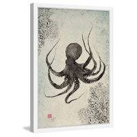 Marmont Hill Inc Marmont Hill - 'Octopus Floating' by Dwight Hwang Framed Painting Print