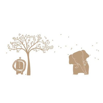 Littlelion Studio Baby Zoo Mural Monochromatic Wall Decal Color: Light Brown