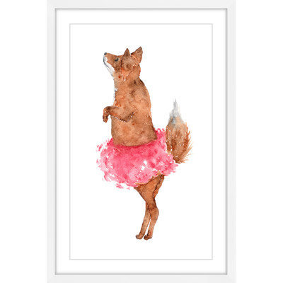 Marmont Hill Inc Marmont Hill - 'Ballerina Fox' by Thimble Sparrow Framed Painting Print