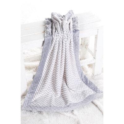 Harriet Bee Bairdstown Zigzag with Border Plush Blanket Color: Grey / Grey