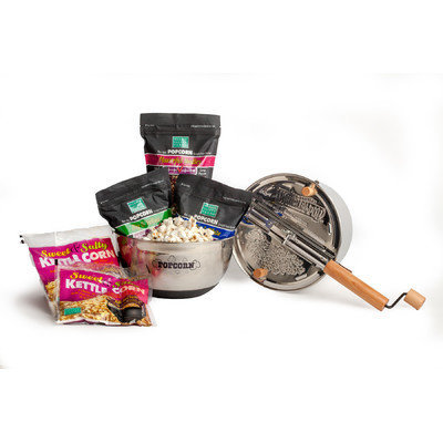 Wabash Valley Farms 7 Piece Gourmet Sweet and Salty Popcorn Set with Stainless Steel Whirley-Pop and Bowl
