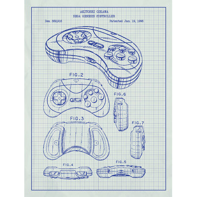 Inked And Screened Gaming 'Sega Genesis Controller' Silk Screen Print Graphic Art in White Grid/Blue Ink