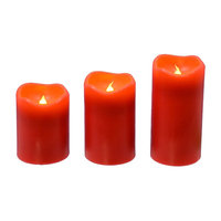 The Holiday Aisle 3 Piece Flameless Candle Set with Remote Color: Red