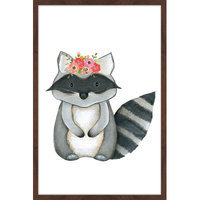 Marmont Hill Inc Marmont Hill - 'Flower Racoon' by Shayna Pitch Framed Painting Print
