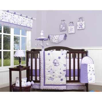 Geenny New Butterfly 13 Piece Crib Bedding Set Color: Lavender