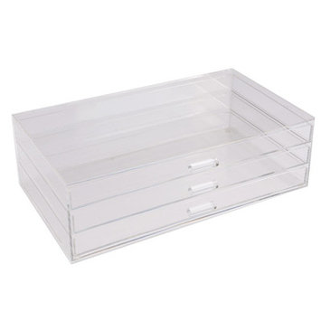 Ikee Design Acrylic 3 Drawer Cosmetic and Jewelry Organizer Tray