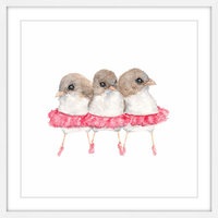 Marmont Hill Inc Marmont Hill - 'Ballerina Birds' by Thimble Sparrow Framed Painting Print