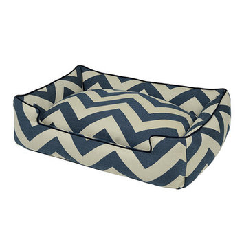 Jax And Bones Spellbound Premium Cotton Blend Lounge Bolster Dog Bed Color: Blue, Size: Large - 39