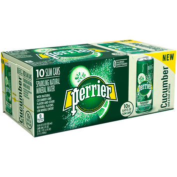 PERRIER Sparkling Natural Mineral Water, Cucumber Lime 8.45-ounce cans (Pack of 10)