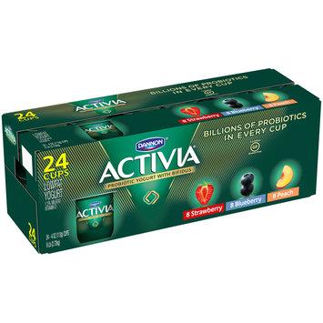 Dannon® Activia® Probiotic Blended Lowfat Yogurt Strawberry, Blueberry & Peach 4 oz. 24 pack