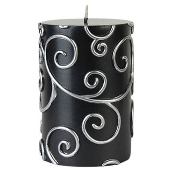 Willa Arlo Interiors Scroll Pillar Candle Color: Brown, Size: 4