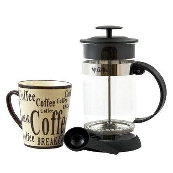 Gibson Overseas, Inc. Mr. Coffee Caf © Oasis 2 piece Glass Coffee Press and Mug Gift Set, Clear
