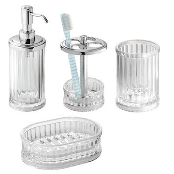 Alcott Hill Duquette 4-Piece Bathroom Accessory Set Color: Clear/Chrome