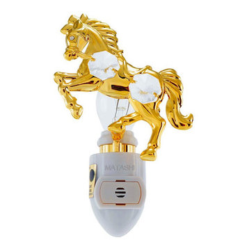 Matshi 24K Gold Plated Horse Night Light Made with Genuine Matashi Crystals