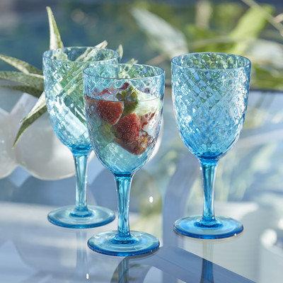 Birch Lane Granada Plastic Goblets Color: Aqua