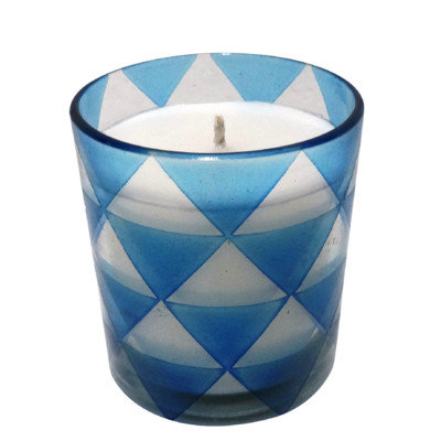 Bidkhome Triangle Glass Designer Candle Color: Blue, Size: Large