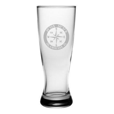 Longshore Tides Galvez Compass Rose Grand Pilsner 20 oz. Glass Pint Glass