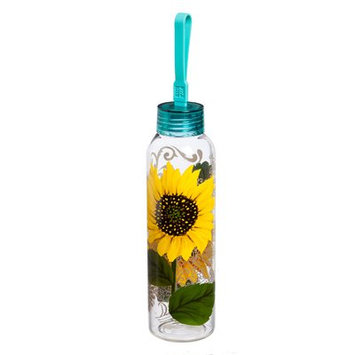 August Grove Adreanna Sunflower 18 oz. Glass Water Bottle