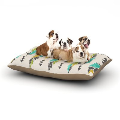 East Urban Home Amanda Lane 'Painted Feathers' Dog Pillow with Fleece Cozy Top Color: Cream/Tan, Size: Large (50