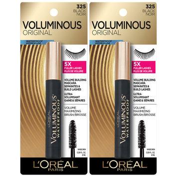 L'Oreal® Paris Voluminous® Waterproof Mascara 360 Black 2-0.28 fl. oz. Carded Packs