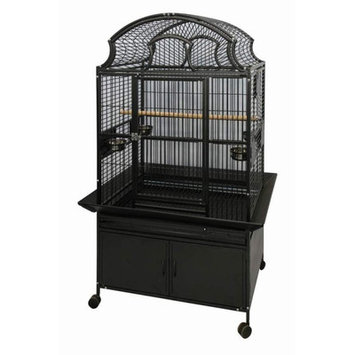 A & E Cages AE-RY3628-B Large Fan Top Bird Cage - Black