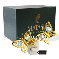 Matashicrystal 24K Gold Plated Crystal Studded Double Butterfly Multi-Colored Night Light