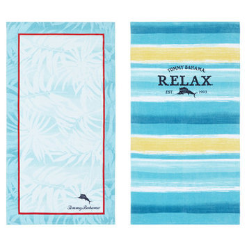 Tommy Bahama Captain Stripe and Marlin 2 Piece Beach Towel Set