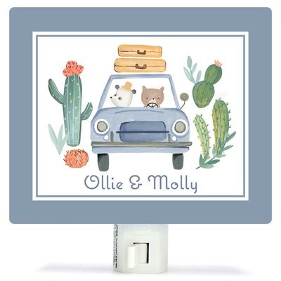 Oopsy Daisy Personalized Best Friends on the Road Canvas Night Light