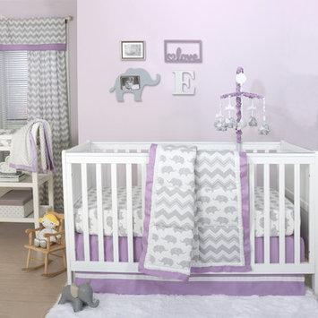 The Peanut Shell® Elephant 4-Piece Crib Bedding Set in Purple/Grey