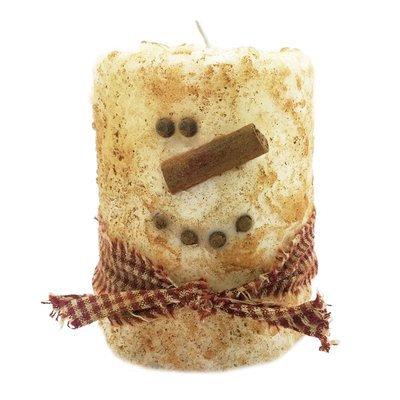 Starhollowcandleco Snowman Primitive Pillar Candle Size: Round Cake Fatty 4