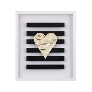 NoJo XOXO Gold Metallic Heart Framed Wall Art