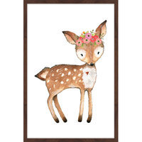 Marmont Hill Inc Marmont Hill - 'Flower Deer' by Shayna Pitch Framed Painting Print
