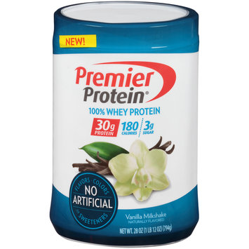 Premier Protein® 100% Whey Vanilla Milkshake Protein Powder 28 oz. Canister