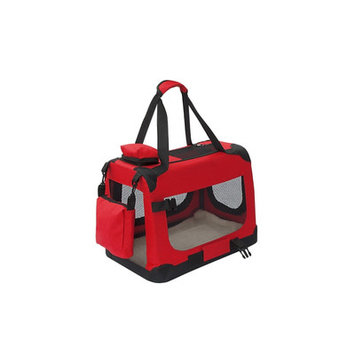 ALEKO Small Heavy Duty Collapsible Pet Carrier Home Spacious Traveler Bag Red