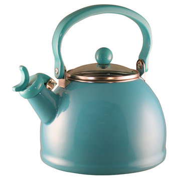 Varick Gallery Hippolyte 2.2 Qt. Whistling Stove Tea Kettle Color: Turquoise