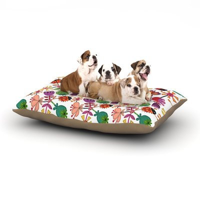 East Urban Home Jane Smith 'Garden Floral' Plants Bugs Dog Pillow with Fleece Cozy Top Size: Small (40